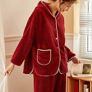 Madeinely Ensembles Femmes Pyjama Pyjama for Les Femmes 2 pièces Pleine de Vacances Nightgown Ensembles Pantalon Pyjama Ensemble de Nuit molletonné à Capuche en Molleton Recommandable Wear Chambre