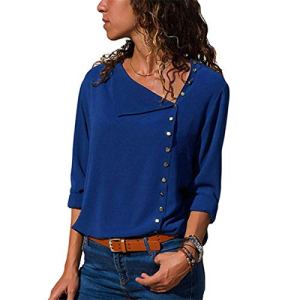 Mode Mousseline de soie Chemisier 2020 Manches Longues Femmes Blouses et Tops Skew Col Solide Chemise de Bureau Casual Tops – Bleu – L
