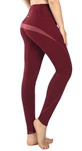 New Mincc Legging de Sports Femme Basique Pantalon Long pour Yoga Jogging Courir Grande Taille Haute Minceur (Rouge,M)