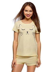 oodji Ultra Femme Pyjama en Coton avec Imprimé, Jaune, FR 44 / XL