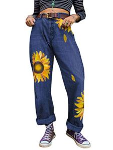 ORANDESIGNE Femme Jean Mom Fit Imprimé Tournesol Boyfriend Jeans Taille Haute Hippie Pantalon Hip Hop Bleu Foncé XXL