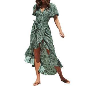 Robe Ete Femme Longue Asymétrique Jaysis Robe De Plage Longue Femme Sexy Chic Fendue Imprime à Pois Robe Portefeuille Col v Taille Empire Mousseline de Soie Robe Femme Trapeze Manches Courtes