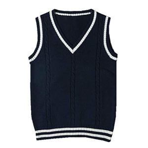 SERAPHY Veste en Cotton Pull Chaud sans Manche Femme Costume de Cosplay Gilet Scolaire Classique Veste Mignon col V Uniform Scolaire en Tricot-Bleu-M