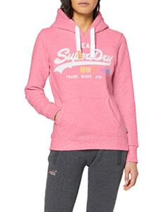 Superdry Vintage Logo Pop Entry Hood Pull, Rose (Fluro Pink Snowy As1), XS (Taille Fabricant:8) Femme