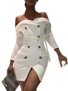 Tomwell Robes de Blazer Femmes Robe Moulante Slim Fit Mini Robe Double Boutonnage Blazer Robes de Soirée Chic Manches Longues OL Bureau Manteau Veste Blanc B 44
