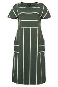 Ulla Popken Femme Grandes Tailles Robe, Oversize, Jersey, Rayures Modernes Cactus 56/58 722351 40-54+