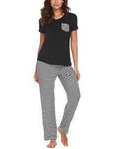 UNibelle Pyjama Shorty pour Femme avec Shorty et t-Shirt de Nuit à Manches Courtes avec Poches, A_noir, taille- M