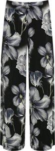 WearAll – Femmes Plus Floral Imprimer Palazzo Pantalon Lades Évasée Large Jambe Pantalon Étendue – Noir – 48-50