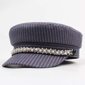Xa Chapeau pour femme Automne et Hiver Loisirs Cap Mode Sans Savourless Top Bèret Rayé (Couleur : Gris clair, Taille : Réglable)