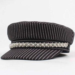 Xa Chapeau pour femme Automne et Hiver Loisirs Cap Mode Sans Savourless Top Bèret Rayures (Couleur : Noir, Taille : Réglable)