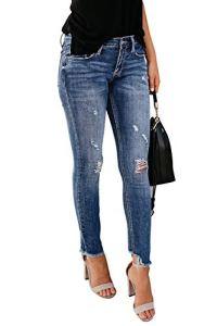 Yidarton Femme Jeans Déchiré Push Up Skinny Slim Fit Stretch Boyfriend Denim Jean Troué Pantalons Jeggings Pants Casual Rétro (Bleu Clair,M)