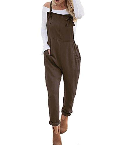 ACHIOOWA Salopette Femme Combinaisons De Playsuit Occasionnels Barboteuses Ample Harem Sarouel Casual Jumpsuit Pantalon Cafe XL