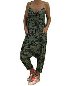 Auxo Femme Combinaisons de Playsuit Été Sexy Imprimé Floral Grande Taille Salopette Bretelles 01-Vert Armée S