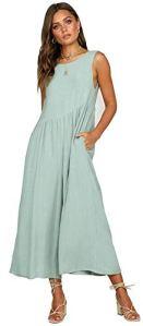 Berdith Combinaison d'été pour femme – Sans manches – Élégante et décontractée – Sans manches – Dos nu – Vert – 42
