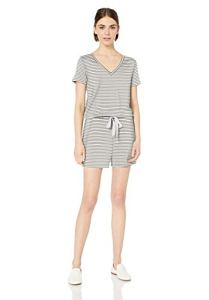 Daily Ritual Supersoft Terry Short-Sleeve V-Neck Romper Apparel, White/Black Stripe, US (XS-S)
