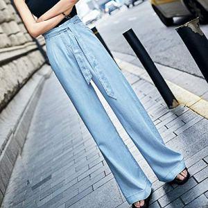 Mmamma Jeans Denim Pantalons de Femmes Femmes Jeans Taille Haute Tencel Femme Jambe Large Pantalon Jeans Denim Blue Jeans délavé Dames Pantalons Leggings (Color : Sky Blue, Size : L)
