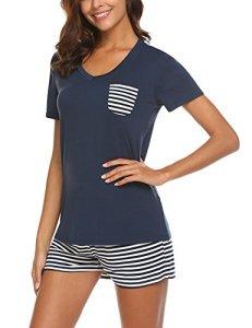 UNibelle Pyjama Shorty pour Femme avec Shorty et t-Shirt de Nuit à Manches Courtes avec Poches, Bleu Marine, taille- L