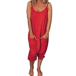 Vertvie Femme Salopette Combinaison Pantalon Décontracté Playsuit Ample Harem Sarouel Pantalon Jumpsuit Casual Vintage Grande Taille Salopette Été (2XL, Rouge A)