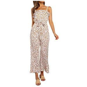 WINJIN Combinaison Longue Femme Ete Barboteuse Chic Jumpsuit Casual Salopettes Imprimé Floral Playsuit Robe Bandeau Bohême Trousers Fronde