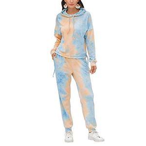 ZFQQ 2020 Nouveaux Automne et Hiver tie-Dye Impression Dames Costume de Service à Domicile Pantalon Chemise à Manches Longues Costume Deux pièces