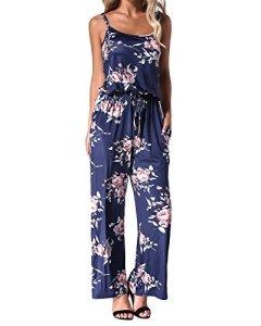 Auxo Femmes Floral Imprimé Jumpsuit sans Manches Taille Haute Casual Combishort Été Long Pantalon Bretelles Romper Marine Taille M/EU 38