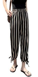 Central Chic Silky Femmes Pantalon d'été court à rayures à carreaux – Noir – 38