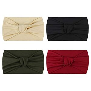 DRESHOW 4 Pièces Bandeau Cheveux pour Femme Bandeaux Hiver Serre-Tête Tricoté Oreille Réchauffeur Chaud Noué Bande Elastique Cheveux