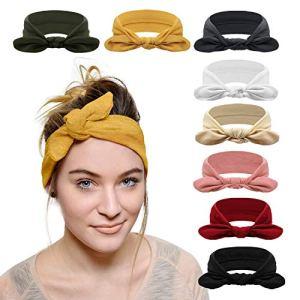DRESHOW 8 Pièces Bandeau Cheveux pour Femme Bandeaux Hiver Serre-Tête Tricoté Oreille Réchauffeur Chaud Noué Bande Elastique Cheveux
