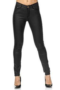 Elara Pantalon Femme en Simili-Cuir Effet Push Up Chunkyrayan E621 Black-36 (S)