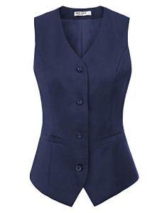 Femme Gilet de Costume sans Manches Retro Veste Gilet de Tailleurs Poches Bleu Marine M CL38-4