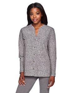 Hanro Sleep and Lounge Woven Long Sleeve Shirt Haut de Pyjama, Microscope, XS Femme