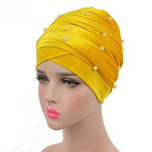 Les Femmes Haut de Gamme Bonnet Velours plissé Turban Musulman Head Wrap écharpe Longue Queue Hat Pré Tied Couvre-Chef Cancer Chemo Cap WJ-01 j0717 (Color : 8, Size : 170 * 26CM)
