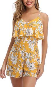 MISS MOLY Combinaison Femme Floral Combishort Chic pour SoiréE Jumpsuit Playsuit Rompers Jaune Medium