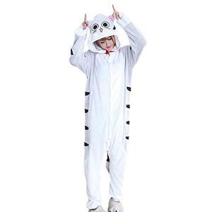 SLDAGe Romper Pajamas Animaux,Chat Blanc Animal Dessin Animé Supersoft Flanelle Costume Pyjamas Adultes Femmes Hommes Cosplay Halloween Homewear,L