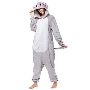 SLDAGe Romper Pajamas Animaux,Éléphant Gris Dessin Animé Supersoft Flanelle Costume Pyjamas Adultes Femmes Hommes Cosplay Halloween Homewear,L