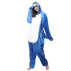 SLDAGe Romper Pajamas Animaux,Requin Bleu Dessin Animé Supersoft Flanelle Costume Pyjamas Adultes Femmes Hommes Cosplay Halloween Homewear,M