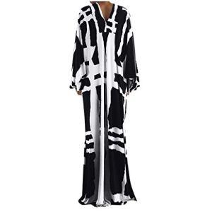 STYLEE Robe Femme Grande Taille Hiver 2020 Manche Longue Boheme Longue Robe Chic Imprimee Vintage Mode Manches Chauve-Souris Robe de Plage Decontractée Ample Casual Maxi Dress