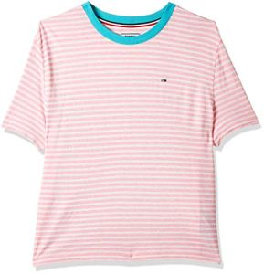 Tommy Jeans Femme Summer Contrast Rib Tee Pull de sport Rose (Roseate Spoonbill/ Classic White 601) X-Large