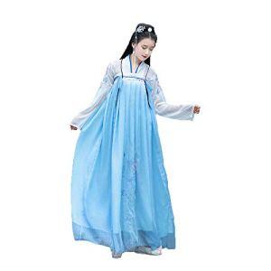 AIFHF Robe brodée pour femme en mousseline de soie chinoise vintage Hanfu Photoshoot Vêtements Halloween Cosplay Danse Imprimer Costumes Bleu L