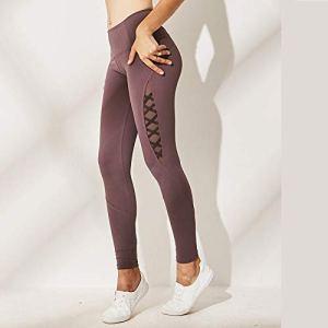 BaoYPP Pantalons de Yoga Pantalon de Yoga for Femme, Taille Haute, Leggings Aimer la Vie (Couleur : Purple, Size : L)