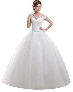 Eyekepper Double Shouder sol Longueur robe de marie mariage Robe de marie Taille sur mesure, Blanc, Small