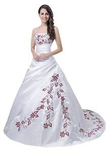 Faironly Robe de mariée sans bretelles blanc/rouge M56 – blanc – Small