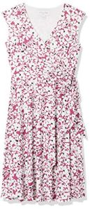 Marque Amazon – TRUTH & FABLE Robe Portefeuille en Jersey Femme, Multicolore (Pink Ground Floral), 46, Label:XXL