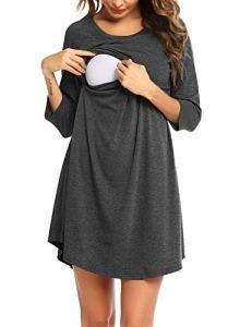 Unibelle® Robe de grossesse Chemise de nuit d'allaitement Femme Chemise de nuit en coton Mode de grossesse Manches 3/4 Chemise de nuit pour femmes enceintes et allaitantes S-XXL – – Taille M