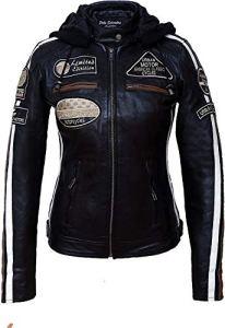 Urban Leather 58 Veste de Moto avec Protections – Femme – Noir – L/42