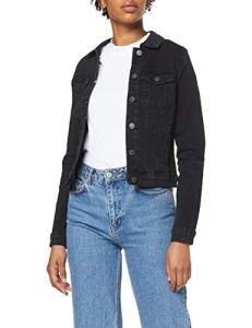 Vero Moda Vmhot SOYA Ls Denim Jacket Mix Noos Blouson, Noir (Black Black), 40 (Taille Fabricant: Medium) Femme