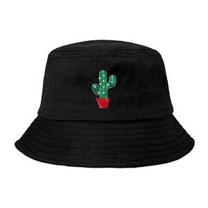 ZLYC – Chapeau bob brodé, tendance, unisexe – chapeau d'été, chapeau de pêcheur pour homme et femme – Noir – Taille unique