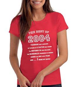 Da Londra The Best of 2004 – T-Shirt Cadeau pour Le 16e Anniversaire – Femmes: Re, XL