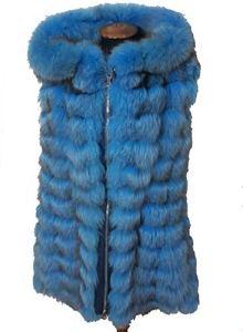 Gilet fourrure renard Silberfuchs Golden Fox Fur Light Bleu Fourrure de Renard