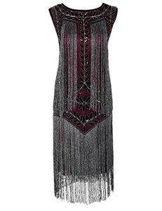 PrettyGuide Femmes 1920s Vintage Paillette Franges Deco Inspire Robe de Flapper S Bourgogne Argent